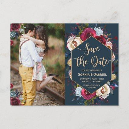 Modern Burgundy Navy Floral Photo Save the Date Announcement
