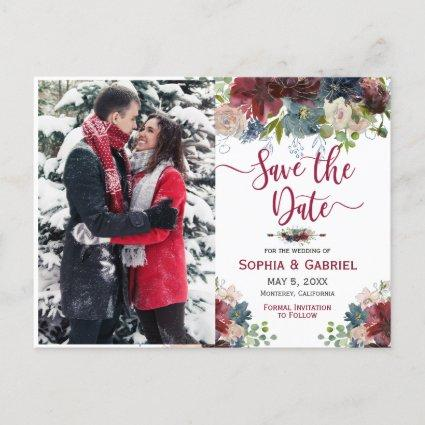 Modern Burgundy Navy Floral Save the Date Photo Announcement
