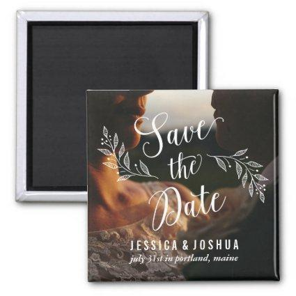 Modern Calligraphy and Photo Save the Date Magnet
