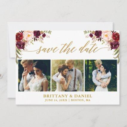 Modern Calligraphy Burgundy Floral 3 Photo Gold Save The Date