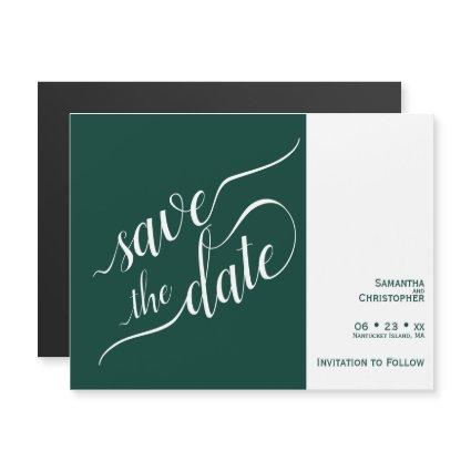 Modern Calligraphy Emerald Wedding Save the Date Magnetic Invitation