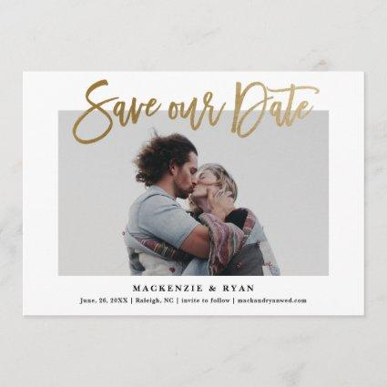 Modern calligraphy gold save the date announcement