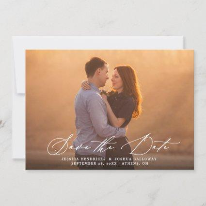Modern Calligraphy Overlay Photo Save the Date Invitation