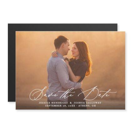 Modern Calligraphy Overlay Photo Save the Date Magnetic Invitation