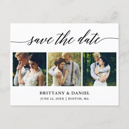 Modern Calligraphy Save The Date 3 Photo Announcement