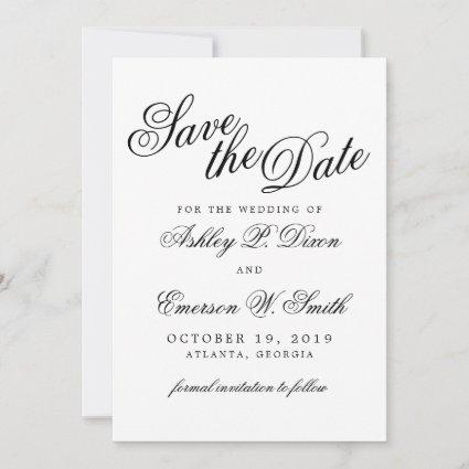 Modern Calligraphy Save the Date Announcement Card