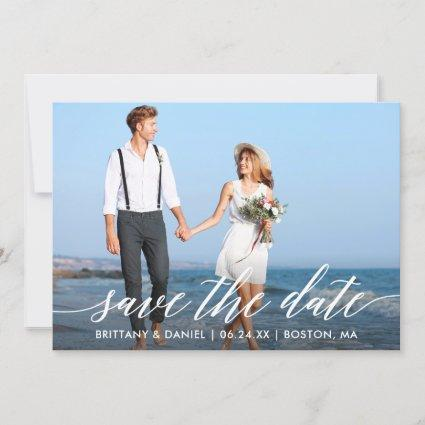 Modern Calligraphy Script Couple Photo Save The Date