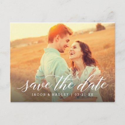 Modern Calligraphy | Wedding Photo Save the Date Announcement