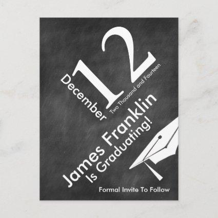 Modern Chalkboard Graduation Save The Date Announcements Cards