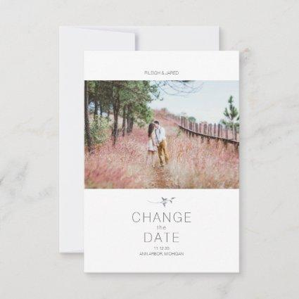 Modern Change the Date Leaf Photo Typography Card