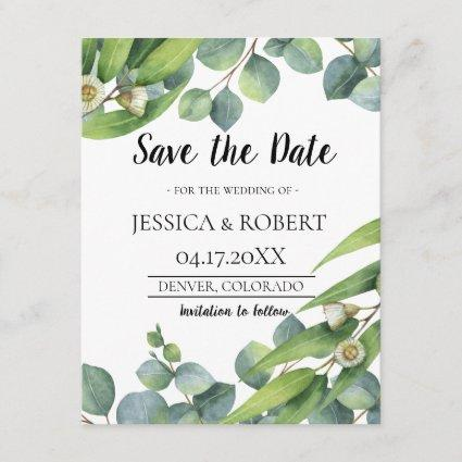 Modern Chic Eucalyptus Wedding Save the Date