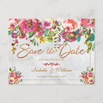 Modern Chic Floral Copper Marble Save the Date Announcement