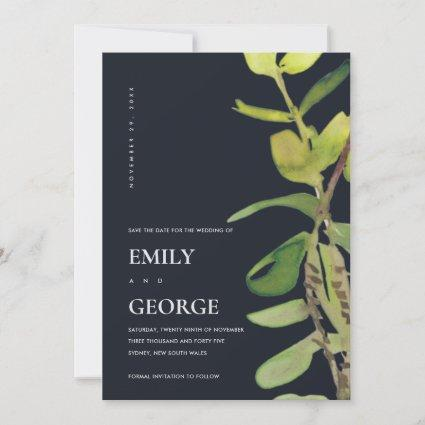 MODERN CHIC LEAFY BLACK FOLIAGE SAVE THE DATE CARD