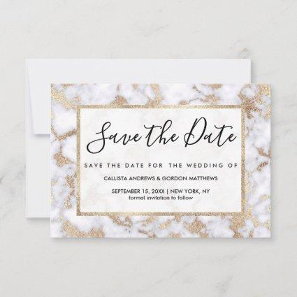 Modern Chic White Gold Foil Marble Pattern Save The Date