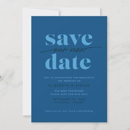 Modern Classic Blue Change the Date Card