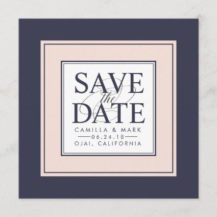 Modern Classic | Blush and Navy Save the Date
