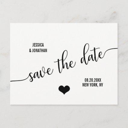 Modern Classy White Black Wedding SAVE THE DATE Announcement