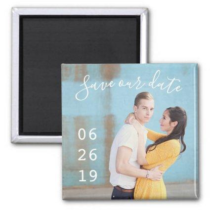 Modern Couple Photo Wedding Save the Date Magnets