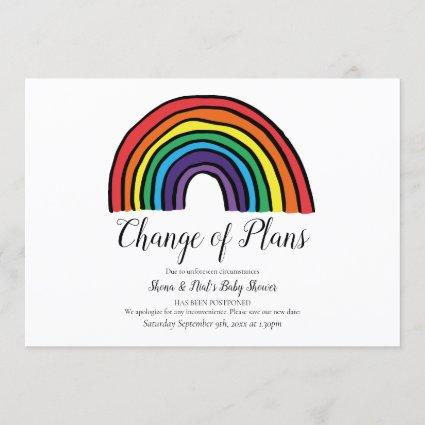 Modern Couples Baby Shower Rainbow Change of Plans Invitation
