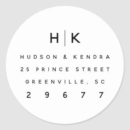 Modern couples monogram return address sticker