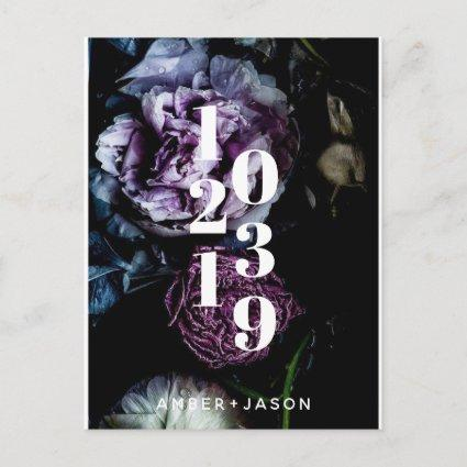 modern dark floral Save the Date Announcement