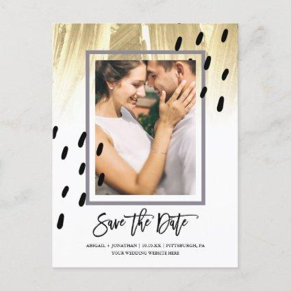 Modern Dots with Brush Strokes Save the Date Invitation