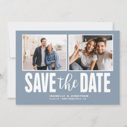 Modern Dusty Blue 2 Photo Save the Date