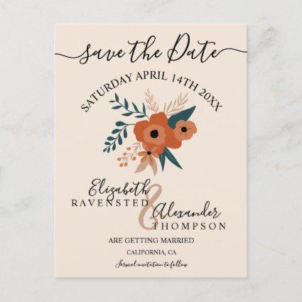 modern editable terracotta floral save the date announcement