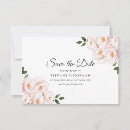 Modern Elegant Blush Floral Wedding Save The Date