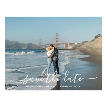 Modern Elegant Calligraphy Save The Date Wedding