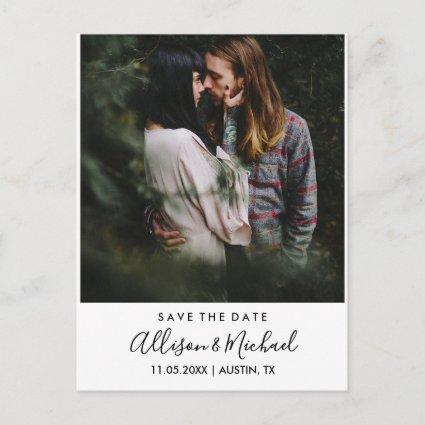 Modern Elegant Script Wedding Save The Date Photo Announcement