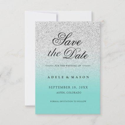 Modern Elegant Teal Silver Save the Date Wedding