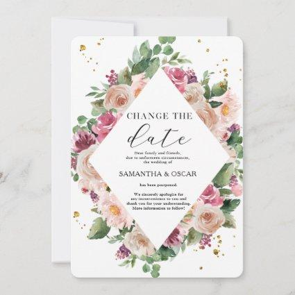 Modern Elegant Watercolor Floral Frame & Gold Dots Save The Date