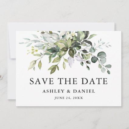 Modern Elegant Watercolor Greenery Save The Date
