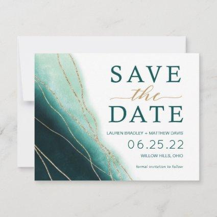 Modern Emerald Green and Gold Watercolor Save The Date