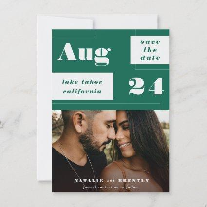 Modern Emerald Green Geometrics with Bold Text Save The Date