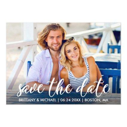 Modern Engagement Save The Date Photo Couple Invitation