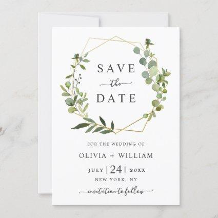 Modern Eucalyptus Floral Geometric Frame Wedding Save The Date