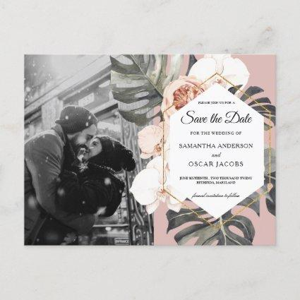Modern Floral Pink Tropical Leaves & Orchid  Announcement