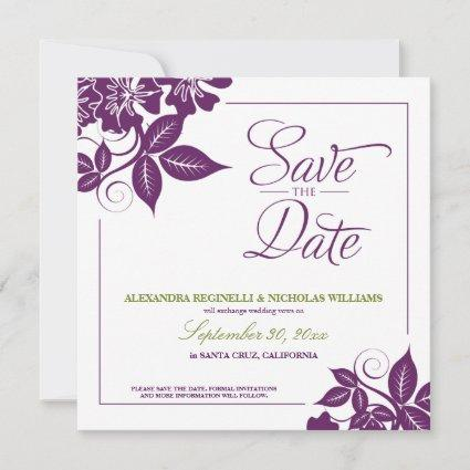 Modern Floral Save the Date Announcement (purple)
