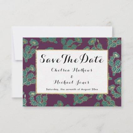 Modern forest green burgundy gold cactus floral save the date