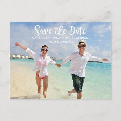Modern Fun Beach Photo Wedding Save the Date Announcements Cards