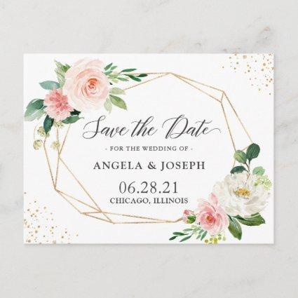 Modern Geometric Blush Pink Floral Save the Date Invitation
