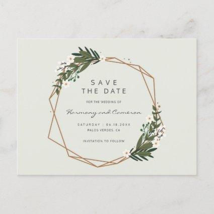 Modern Geometric Gold Frame Greenery Save the Date Announcement