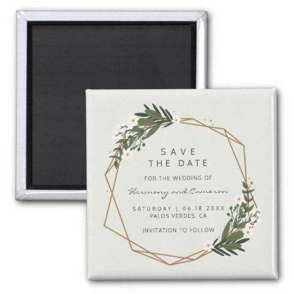 Modern Geometric Gold Frame Greenery Save the Date Magnet