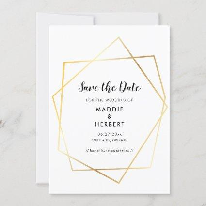 Modern geometric gold frame save the date