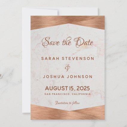 Modern Geometric Marble Copper Calligraphy Wedding Save The Date