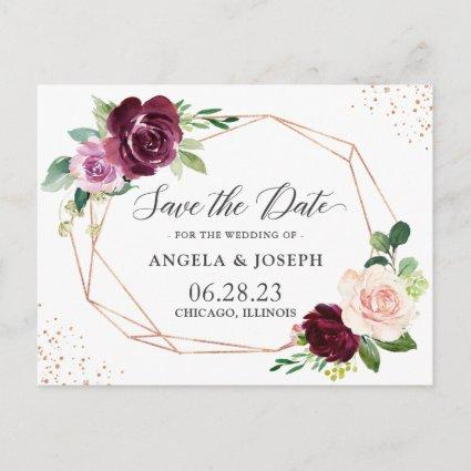 Modern Geometric Purple Blush Floral Save the Date Invitation