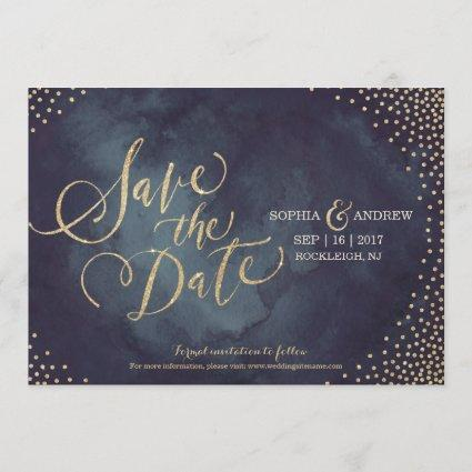 Modern glam gold glitter calligraphy save the date