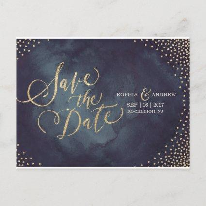Modern glam gold glitter calligraphy save the date announcement